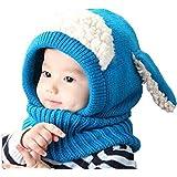 FEITONG Los niños del bebé de invierno Calentar muchachos de las niñas de lana Cofia de la capilla de la bufanda capsula los sombreros 5 colores