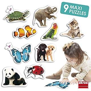 Akros (AKRP1) 50221 Akros Maxi Animals Puzzles, Multi-Colour