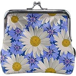 Margarita Azul y Blanca Flores Hebilla Linda Monederos Hebilla Hebilla Cambio Monedero Carteras