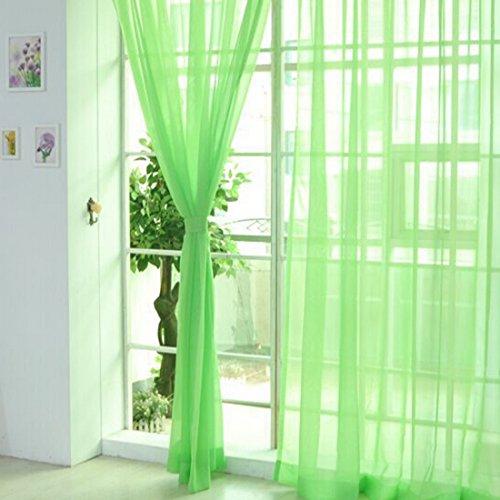 Nibesser Transparente Gardine Vorhang Dekoschal Fensterschal aus 100% Polyester 100x200cm 2 Stück (Grün)