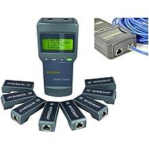 Kalea Informatique–Comprobador profesional para red RJ45–muestra en una pantalla LCD de gran tamaño de un diagrama de cableado–Cable culpa localización pruebas–con 8satélites