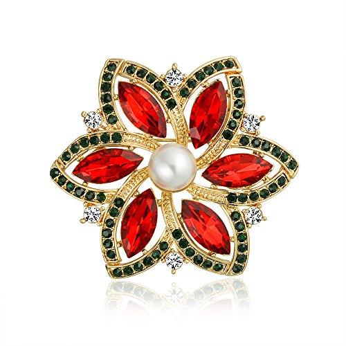 Bling Jewelry Vergoldet Weihnachtsstern Crystal simulierten Pearl Weihnachten Pin (Weihnachtsstern Pearl)