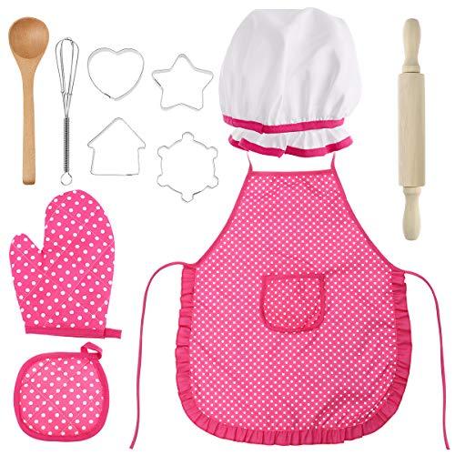 Spielen Sie Kostüm 4 - BESTONZON 11Pcs Chef Set Complete Kids Kitchen Geschenk Spielset mit Kochmütze Schürze Kochen Mitt und Utensilien für Kinder Kochen spielen