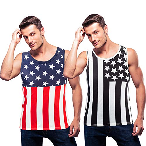 2 Pieces Men's Patriotic Tank Top American Flag Top Shirt July 4th American Independence Patriotic Tank (S)