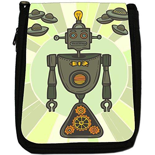retrò Hipster Robot Medium Nero Borsa In Tela, taglia M Green Lightbulb Hipster Robot