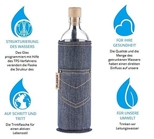 Flaska Trinkflasche Neo Jeans mit Tasche - Wasserflasche Glasflasche + 2 Korken