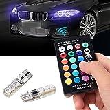 gogolo 2pcs 6SMD 5050RGB impermeable coche luz de posición lateral Bombillas LED coche luz de ambiente con mando a distancia, 4modelos de iluminación