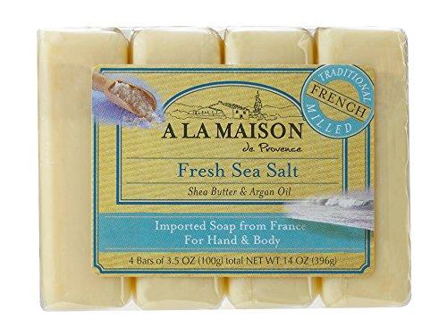 Hand Body Bar Soap, frais sel de mer, 4 bars - A La Maison de Provence