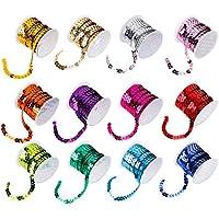 QH-shop Pailletten Bänder 5m Farbiges Glitzer Paillettenband Borten Rolle für DIY Handwerk Bastelprojekte Tanzbekleidungen Armband Dekorationen 12 Pack