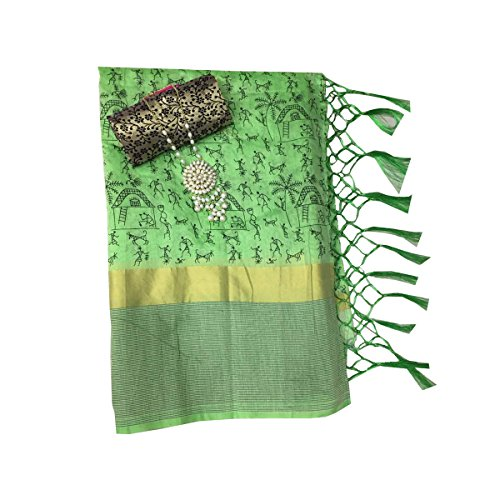 Clickedia Women's Cotton Saree With Blouse Piece_Green_Free Size