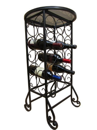 PTC Home & Garden 15-Bottle Wine Rack with Round Glass Table Top by PTC (Ptc-rack)