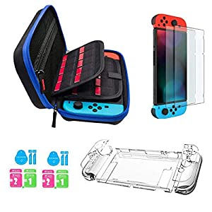 JUSONEY Switch-Zubehör-Kit Kompatibel mit Nintendo Switch – inklusive Switch-Hülle mit 20 Game Cartridges/Switch Clear Cover-Hülle / 2 HD-Displayschutzfolien für Switch Console-Zubehör (Blue)