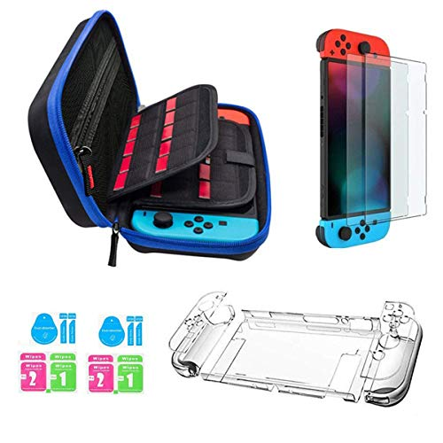 JUSONEY Funda Nintendo Switch,Nintendo Switch Case con 20 Cartuchos de Juegos / Switch Clear Cover Case / 2 Piezas HD Protector de Pantalla para Nintendo Switch Console Accessories