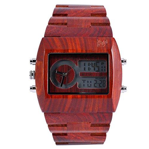 MerciMall BAB-DZR06 Chronograph analoge UE digitale Sandelholz Uhr mit Multi Zeitzone und Nacht Damen-uhren Mit Dunklem Gesicht
