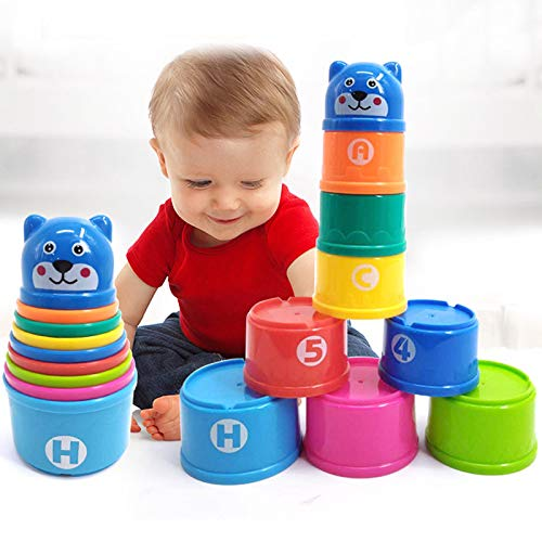 PLUSPOINT Rainbow Stacking & Nesting Cups Baby Building Set. 9 Pieces. with ABC Characters and Numbers. for Indoor, Outdoor, Bathtub, and Beach Fun Toy. Multi Colors