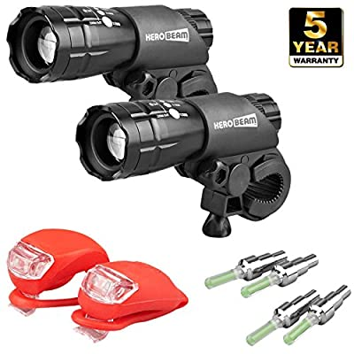 HeroBeam® Double Bike Lights Set - The Ultimate Lighting and Safety Pack of Super Bright Front Bicycle Lights, Tail Lights and Wheel Lights - 5 YEAR WARRANTY - low-cost UK light store.