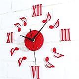 Adesivi per la decorazione dell'orologio 3D di notazione musicale muro DIY ALISIAM (B)