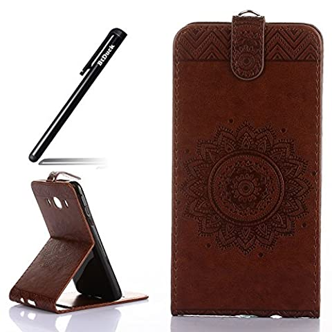 Case for Samsung Galaxy J5 2016 J510 wallet Embossed Flowers case,SM - J5108 Ceramic pattern flip cover,BtDuck protective case Brown shell Retro Buddhism Solid color special Briefcase skin Case for Samsung Galaxy J5 2016 Holster Full-body protection machine Totem Anti-scratch Shock Resistant Strong magnetic buckle Magnet Closure [with Lanyard Strap / Rope] Credit Card/Cash Holder Slot - Coffee