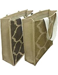 Pack Of 3 Reusable Eco-friendly Premium Quality Multipurpose Natural Jute Bag 15x13x3Inch 300Gms Shopping Bag...