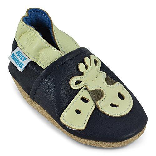 Juicy Bumbles - Weicher Leder Lauflernschuhe Krabbelschuhe Babyhausschuhe mit Wildledersohlen. Junge Mädchen Kleinkind- Gr. 18-24 Monate (Größe 24/25)- Giraffe