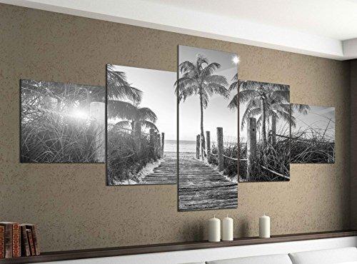 Leinwandbild 5 tlg. 200cmx100cm Steg am Strand Key West Florida schwarz weiß Bilder Druck auf Leinwand Bild Kunstdruck mehrteilig Holz 9YA2315, 5Tlg 200x100cm:5Tlg 200x100cm