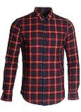SOOPO Herren Langarm Kariert Flanell-Hemd aus Baumwolle Freizeithemd Arbeitshemden Checked Flanell Shirt (C-rot,2XL)