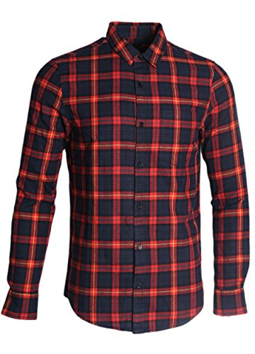 SOOPO Herren Langarm Kariert Flanell-Hemd aus Baumwolle Freizeithemd Arbeitshemden Checked Flanell Shirt (C-rot,XL) (Shirt-kleid Checked)