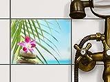 creatisto Stickerfliesen Dekorationsaufkleber | Fliesen-Sticker Aufkleber Folie selbstklebend Bad renovieren Küche Deko Bad | 20x15 cm Erholung Wellness Lotus Flower - 1 Stück