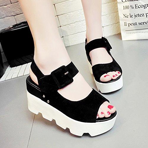 Lgk & fa estate sandali da donna estate pendio con sandali da donna di spessore inferiore pesce scarpe degli studenti scarpe Black