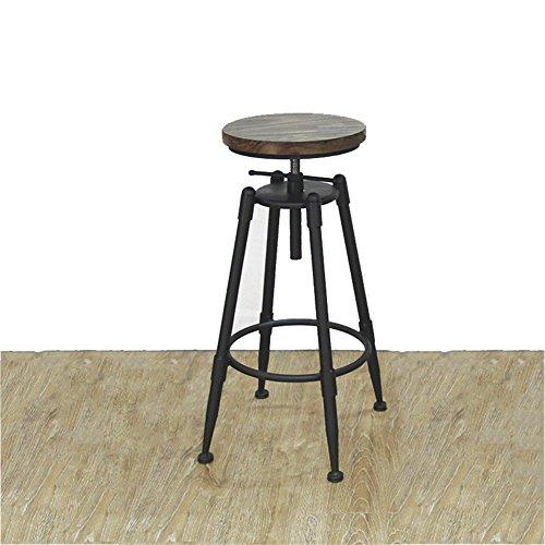 Barhocker Swivel High Hocker Europäischen Retro Loft Industriellen Stil Vintage Minimalistischen Eisen Sitz Massivholz Hocker Oberfläche Gegenstuhl Für Bar Cafe Tee Shop Home Lift Rotierenden Freizeit Stuhl