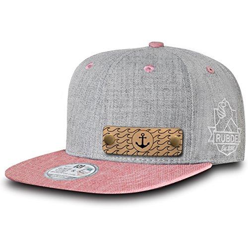 RUBDE Cap2 | Individuelle Snapback Cap Basecap Kappe mit Lederpatch, NFC-Sticker und QR-Code Größen - personalisierbar | Unisex - Herren Damen Kinder Kids | Salmon Rosa M