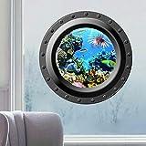 Ecloud Shop Rundes Fenster Koralle Seascape Meerblick-Dekoration-Aufkleber 3D PVC Tapete