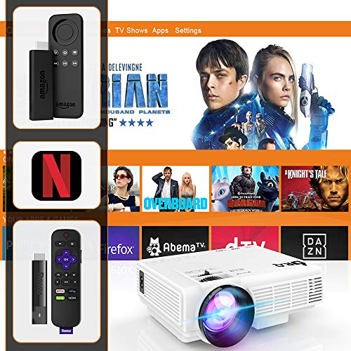 51ODoBM%2BWzL. SS500  - DR.Q HI-04 Projector with Projection Screen 1080P Full HD and 170'' Display Supported, Upgraded 4500 Lux Video Projector Compatible with TV Stick PS4 HDMI VGA TF AV USB, Home Theater Projector, White