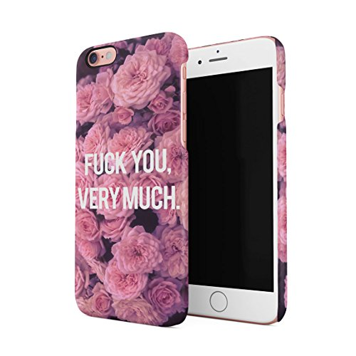 Fuck You Very Much Red Roses Pattern Custodia Posteriore Sottile In Plastica Rigida Cover Per iPhone 6 & iPhone 6s Slim Fit Hard Case Cover Fuck You Pink