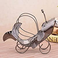 Hong xia shop Hand-Painted fish Shaped Metal Sculptures Decor Wine Bottle Holder, Decorative Single Bottle Stand Serving Display Wine Rack,Stylish Wine Bottle Storage rack,