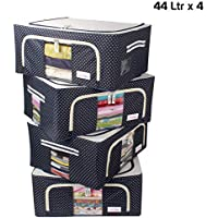 BlushBees® Living Box - Storage Boxes for Clothes, Saree Cover (Blue Polka, 44 LTR - Pack of 4)