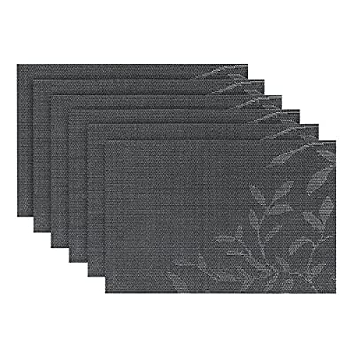 Fanuk Placemats Set of 6 Washable Heat Insulation Non-slip Woven Vinyl Place Mats for Kitchen and Dining Room