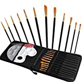 KinjazPlay Malerpinsel 12 Set Professioneller Malerpinsel Runde Spitzen Nylon Haarkünstler Acrylpinsel für Acryl Aquarell Ölmalerei