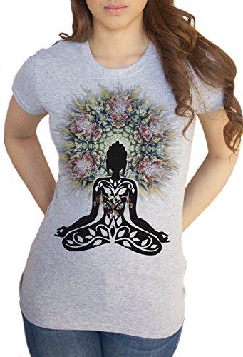 Yoga-T-Shirt für Damen, Motiv Buddha Chakra-Meditation Zen Hobo BohoPeace, Verschiedene Größen erhältlich Gr. Medium, Weiß - Weiß (Buddha Peace T-shirt Top)