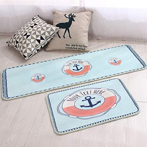 Mjia rugs tappeto cucina,moquette blu di spessore di 7mm della barca 2pcs,50 * 80cm+50 * 160cm,tappetino in gomma antiscivolo zerbino passatoia