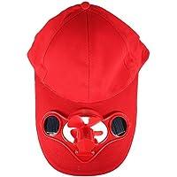 SODIAL(R) Summer Outdoor Solar Sun Power Hat Cap Cooling Cool Fan for Golf Baseball Sport - Red