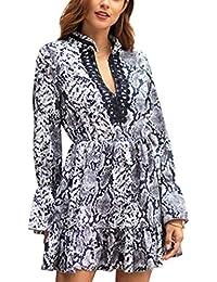 9db2e679c5c3 Femmes Casual Robe Python Motif Manches Longues A-Ligne V-Cou Robes Swing