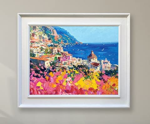 Positano Italy Original Painting on Canvas with white Frame -