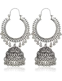 f7c8bd9a041a84 Kaizer Jewelry White Fashion Oxidised Silver Tribal Stylish Party Wear  Jhumka Earrings For Women s   Girl s