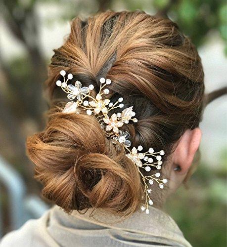 SWEETV Handgefertigt Hochzeit Haarkämme Gold Haarnadeln Kristall Haarschmuck