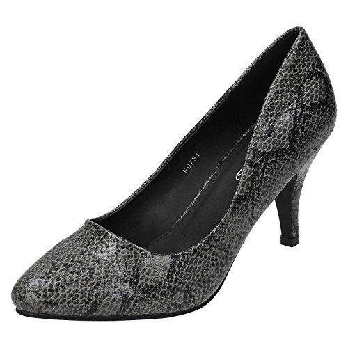 Spot On , Sandales Compensées femme Grey Snake Print (Grey)