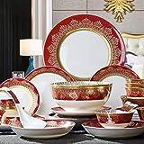 WLNKJ Juego De Vajilla De Cerámica con 38 Piezas, Tazón/Plato/Cuchara | Juegos De Vajilla De Porcelana, Juego De Combinación De Porcelana con Diseño A Juego De Oro Rojo