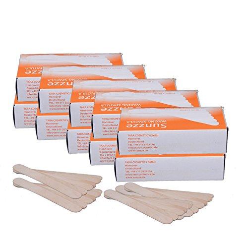 Sunzze Holzspatel im 10er Pack (10 x 100 Stk.) für das Auftragen von Wachs und Zuckerpaste bei der Haarentfernung, Spatel Einwegzungendrücker
