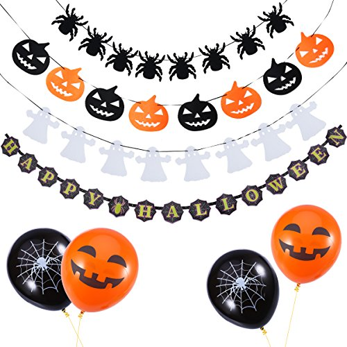 NUOLUX Halloween Set,Halloween Girlande,,4 Girlanden + 18 Luftballons (Outdoor Halloween Dekoration)