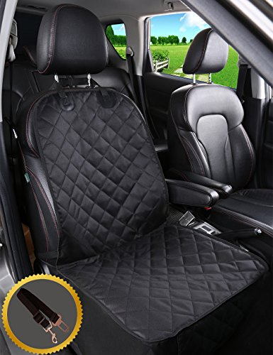 Alfheim Dog Car Seat Cover Nonslip Rubber Backing with Anchor And An Adjustable Pet Dog Car Seat Belt, for All Cars, Trucks & SUVs, Black (For Front Seat)